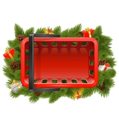 Shopping Basket with Christmas Decorations vector image