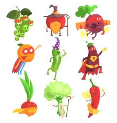 Silly Fantastic Fruit And Vegetable Characters Set vector image