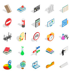 Teaching icons set isometric style vector
