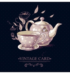 Vintage card with cup of tea or coffee and pot vector