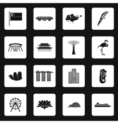 Singapore icons set in simple style vector