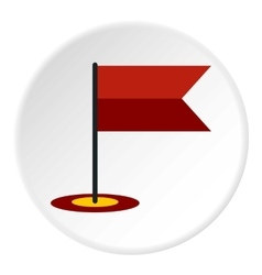 Flag in gps icon flat style vector
