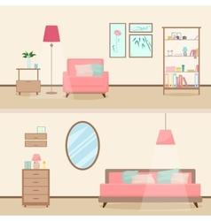 Colorful flat style modern livingroom interior vector image