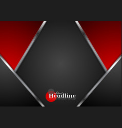 Abstract contrast tech red black background vector
