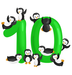 Ordinal number 10 for teaching children counting vector