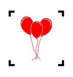 balloons set sign red icon inside black vector image