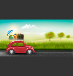 Road trip concept red car with baggage in vector