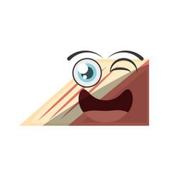 Cartoon slice cake sweet wink vector