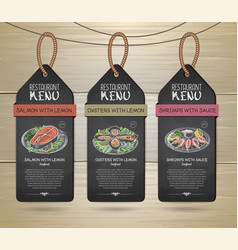 chalk drawing restaurant label menu design vector image