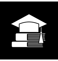 Mortar board and books vector