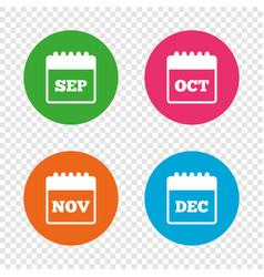 Calendar september november october december vector