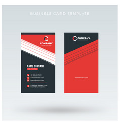 Modern creative vertical red business card vector