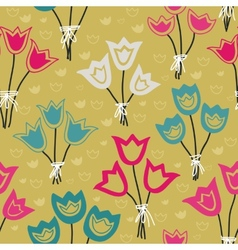 Cute seamless floral pattern with tulips on pastel vector image