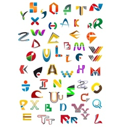 Abstract geometric alphabet icons vector