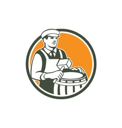 Cooper barrel maker drum retro circle vector