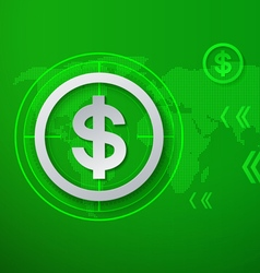 Dollar signs on green technology background vector