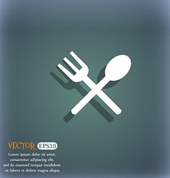 Fork and spoon crosswise cutlery eat icon sign on vector