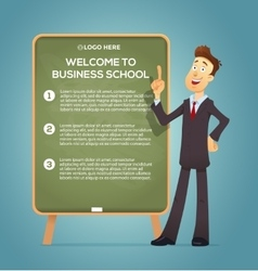 Business coach at the blackboard vector