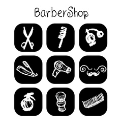 Icons barber shop elements in the style chalk vector