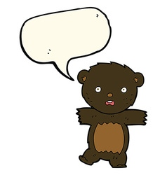 Cartoon shocked black bear cub with thought bubble vector
