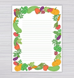 Sheet with vegetable frame on wooden backdrop vector