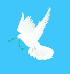 White dove flying way up in a blue sky with green vector
