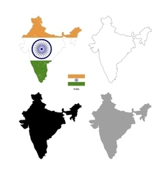 India country black silhouette and with flag on vector