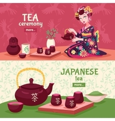 Tea ceremony banner set vector