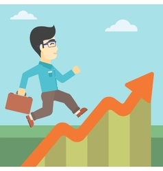 Businessman running along the growth graph vector