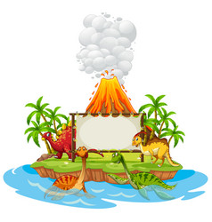 banner template with dinosaurs and volcano vector image vector image