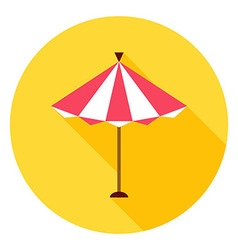 Beach sun umbrella circle icon vector