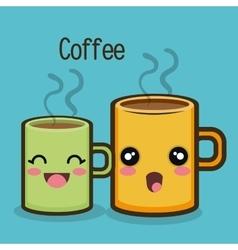 cartoon mug coffee drink hot graphic vector image