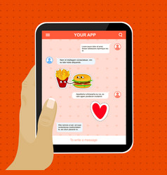 chat mobile application with love stickers vector image vector image