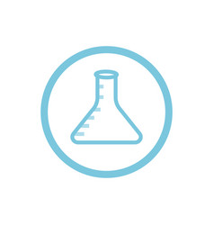 Chemical flask blue round icon vector
