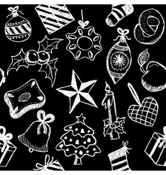 Christmas symbols doodles vector image vector image