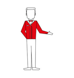 Color silhouette image full body faceless bellboy vector