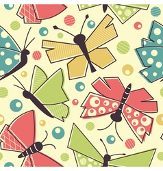 Colorful flying butterflies seamless pattern vector image