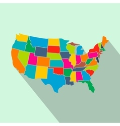 Colorful USA map with states flat icon vector image vector image