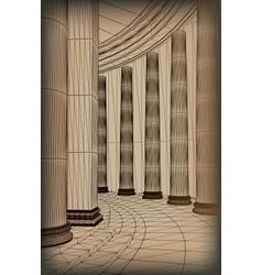 Column array with a greek doric-style base vector