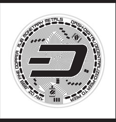 crypto currency dash black and white symbol vector image vector image