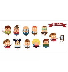 Digital cartoon characters set vector image
