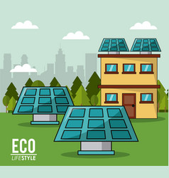 Eco lifestyle solar panel house smart clean energy vector