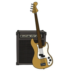 Electric fretless bass guitar and the combo vector image
