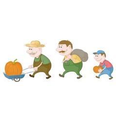 Farmers harvest of pumpkins vector image vector image