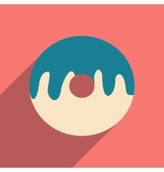 Flat with shadow icon and mobile application donut vector