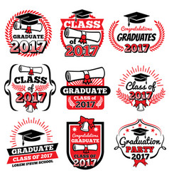 High school and college graduation off to school vector