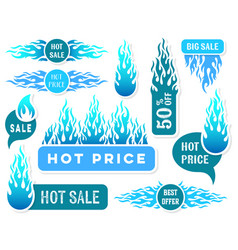 Hot price winter sale text labels vector