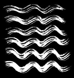 Ink brush wave strokes set vector