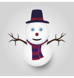 isolated white winter happy snowman eps10 vector image vector image