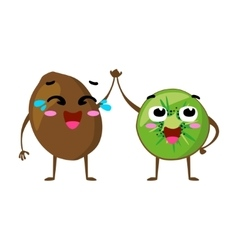 Kiwi cute fruit character couple isolated vector